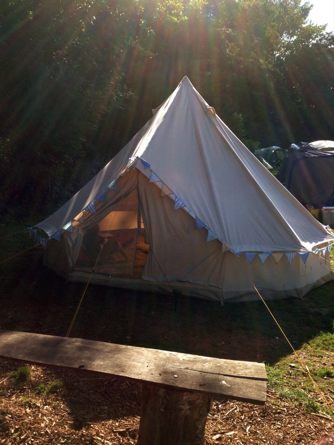 Campervan on one side, bell tent on the other, fire pit in the middle  - what's not to love?