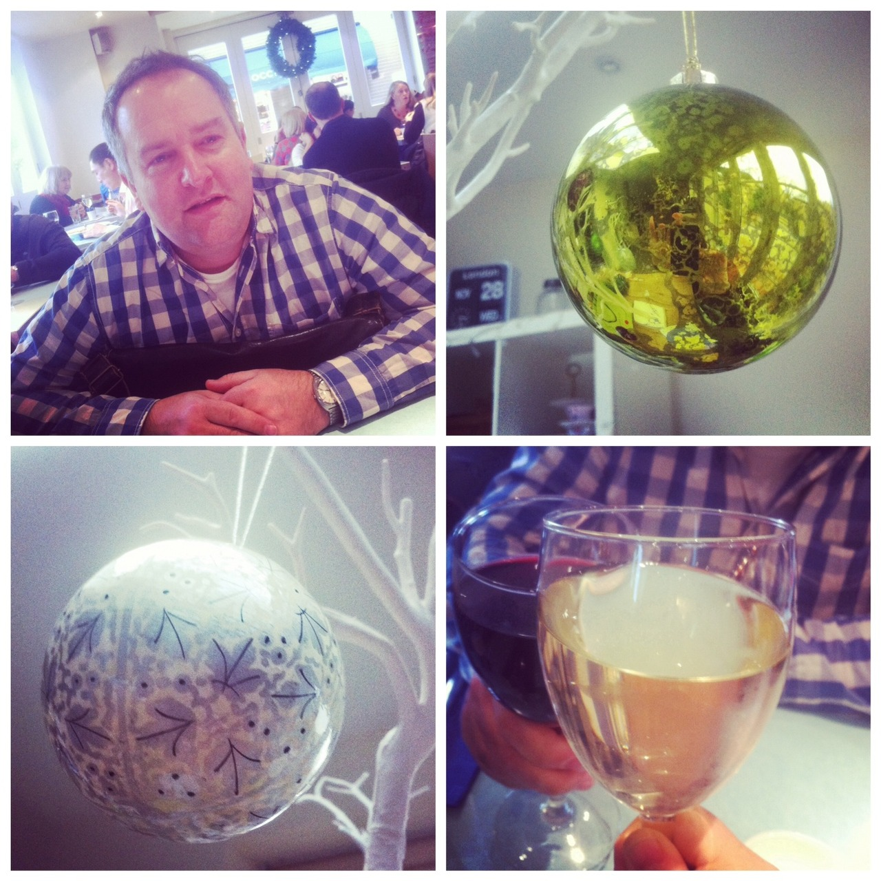 The big fella's birthday and baubles Today was the big fella's birthday so after my 7.30am meeting (yes really), I dashed back home to accompany him on his annual birthday day out. We went for a mooch around the shops he wanted to visit, had a lovely spot of lunch and a couple of very large glasses of wine and even managed to do a bit of bauble shopping on the way home. The boys and I sang happy birthday after school and we all had chocolate cake for tea. Brilliant. Back to the crazy work schedule tomorrow though *sigh*…