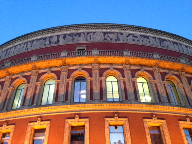 The Royal Albert Hall glinting in the golden hour on Sunday night