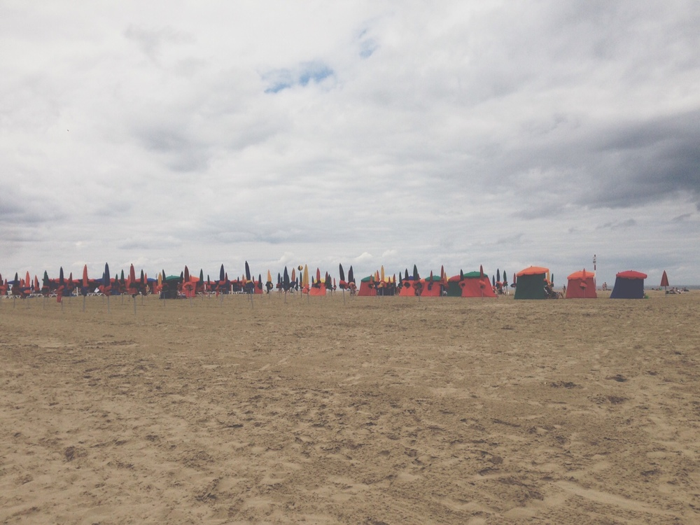 The seemingly endless flat stretch of sand that makes up the beach at Deauville