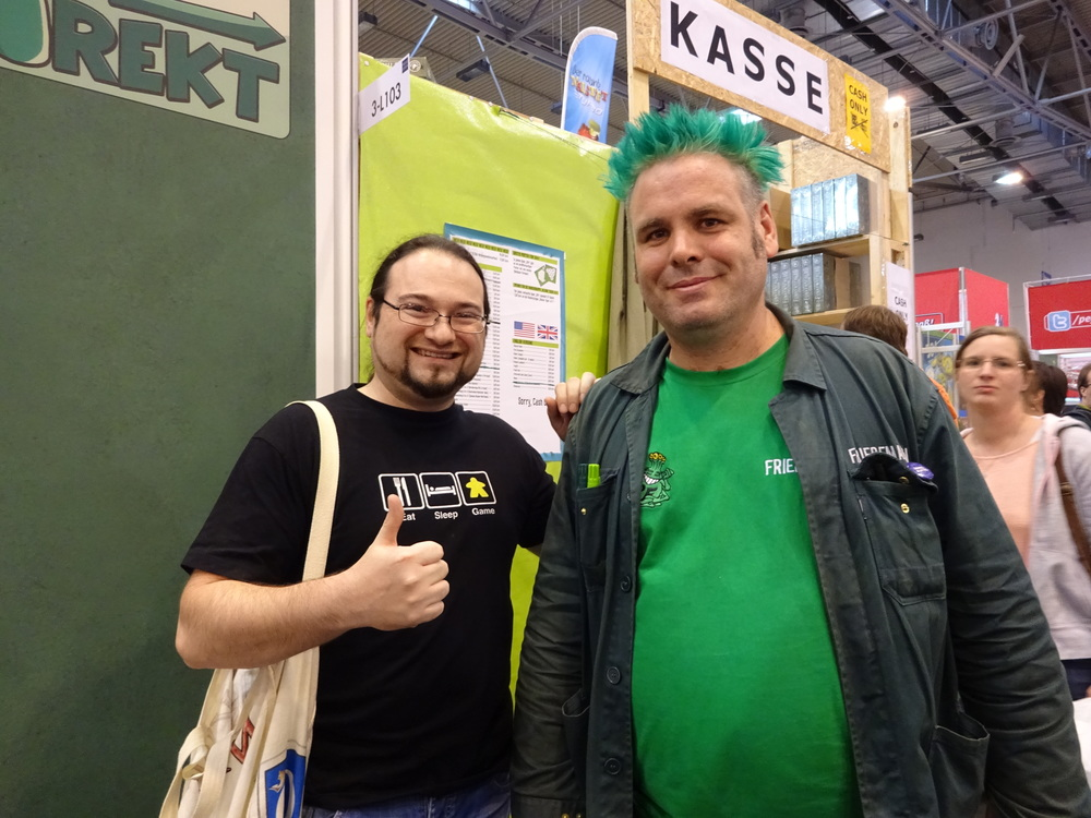 Probably the only game designer with green hair in the world.