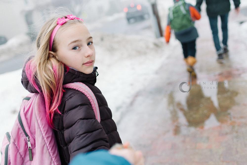 Foggy day walk to school