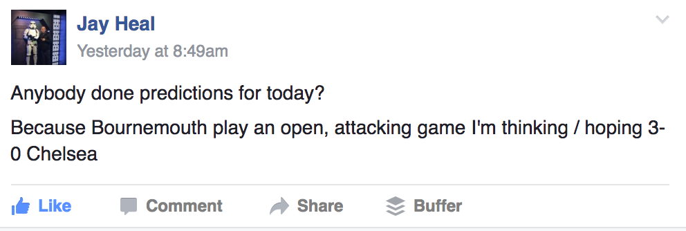 Jay with the spot on prediction! Join our Facebook group and get involved.