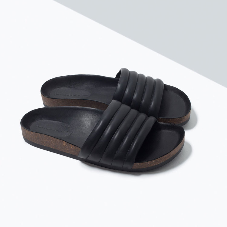 Zara Quilted Slide Sandals