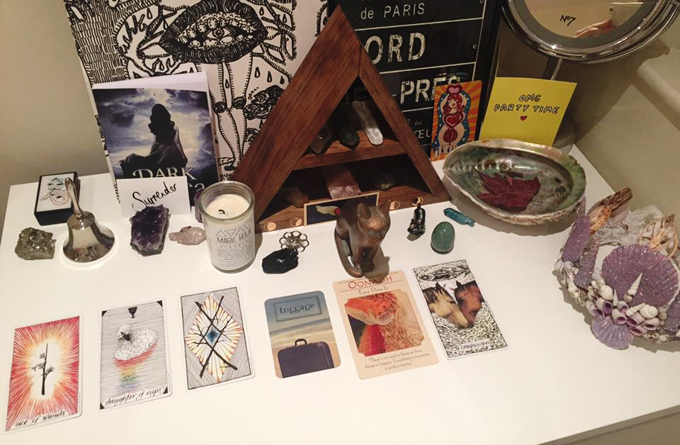 Heather's  altar set up with her daily tarot reading.