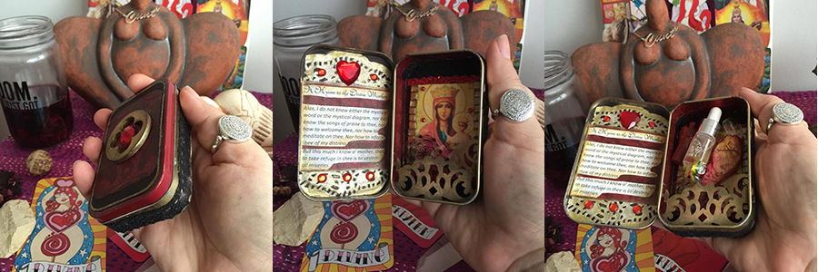 Lisa's  candy tin altar helps her to create sacred space wherever she travels to.