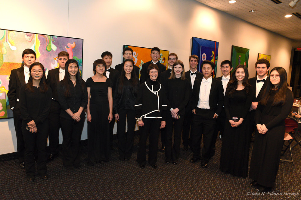 2018 All-Stars Youth Orchestra students with Fairfax County Board of Supervisors Chairman Sharon Bulova.