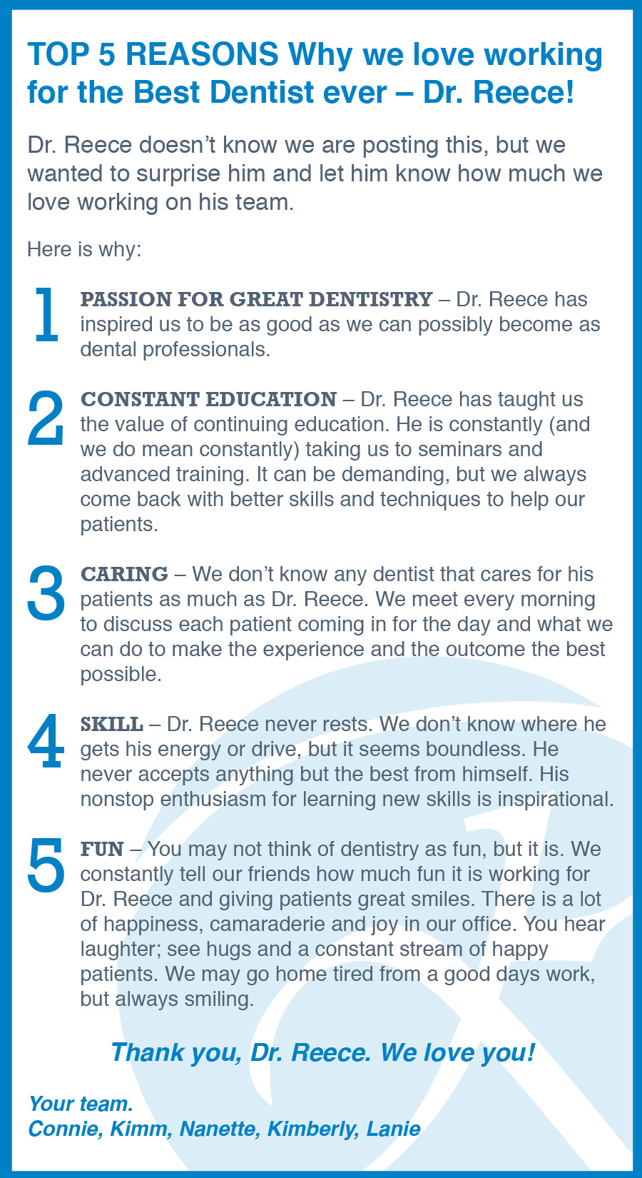 Top 5 Reasons We Love Dr. Reece