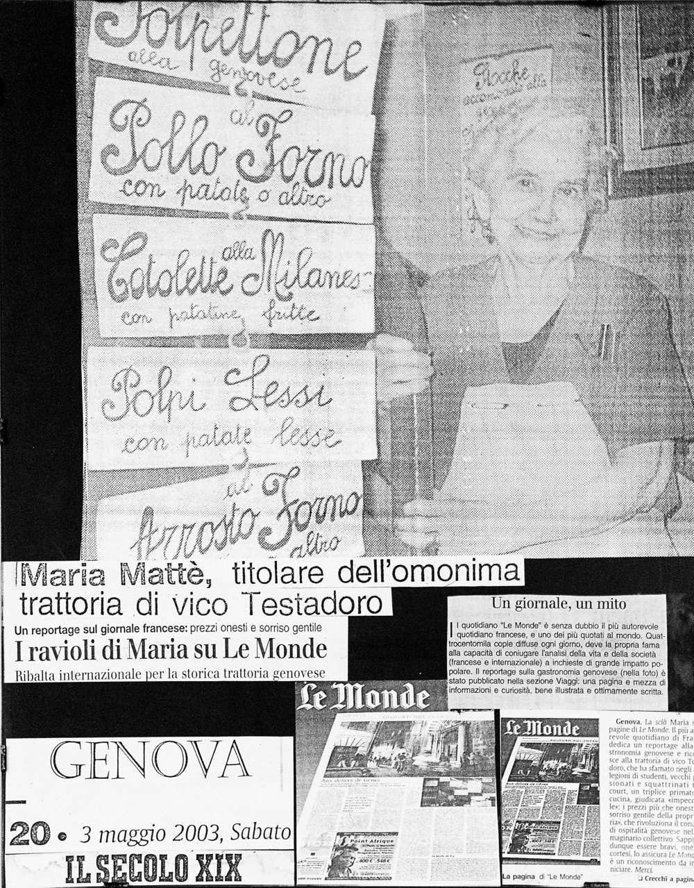 Some articles hanging on the wall appraising the food and hospitality of the infamous Maria.