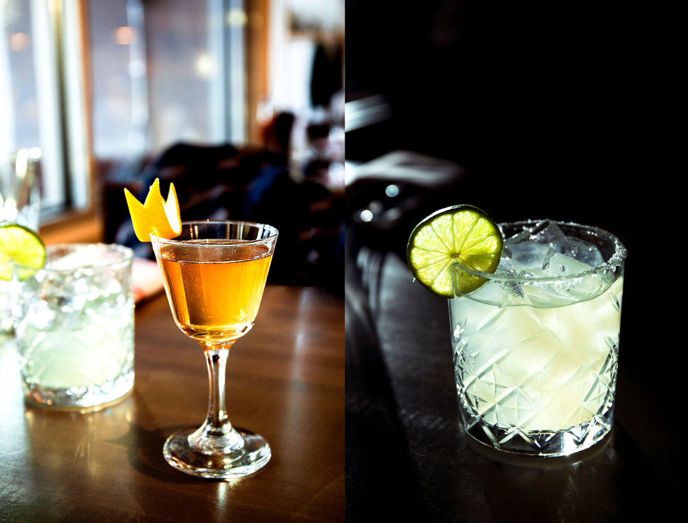 On the left, the  Nitro Mezcal Old Fashion.  Right,  Draft Coin Margarita.