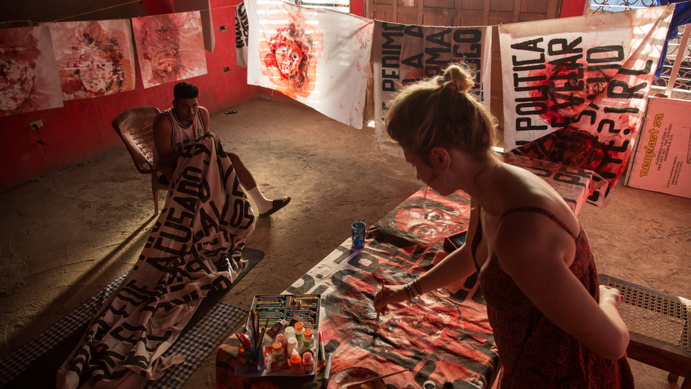 Aubrey Roemer inside of her studio in Chichigalpa, Nicaragua, 2015. Photo courtesy of Tom Laffay.