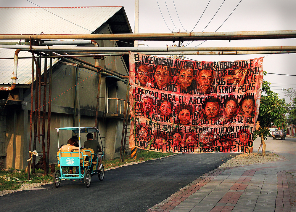 Empalagoso (Saccharine): The Chichigalpa Portrait Project, Protest Banner Tapestry at Taiwan Sugar Museum. Photo courtesy of artist.