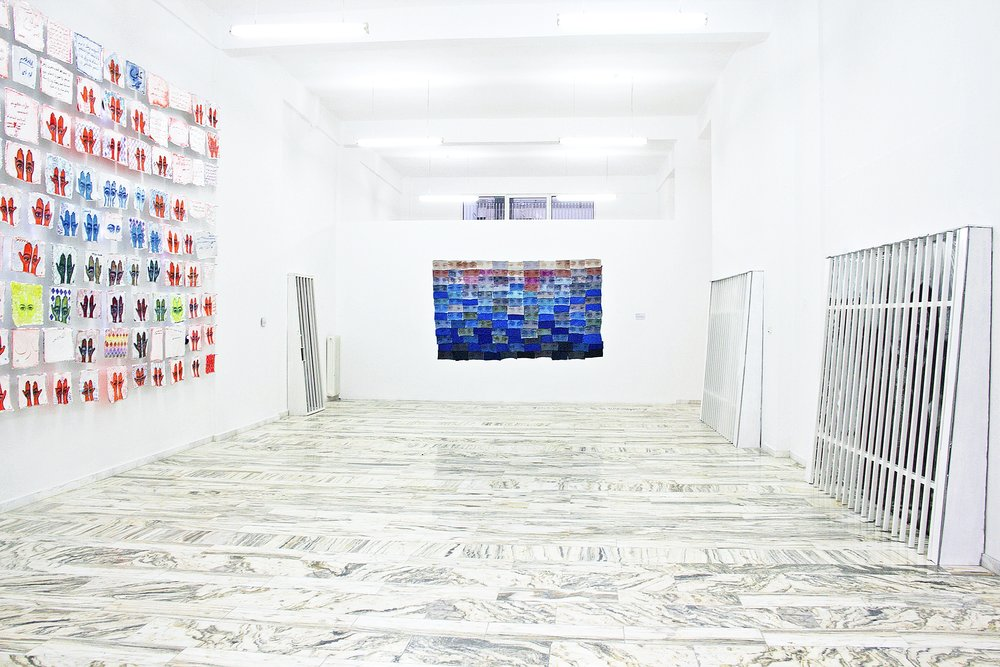 Installation view of solo exhibition 'Khamsa' at International Fine Arts Consortium (IFAC) Athina, 2016. Photo courtesy of artist.