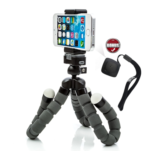 This is the smartphone tripod I use. The legs adjust so you can place it almost anywhere.