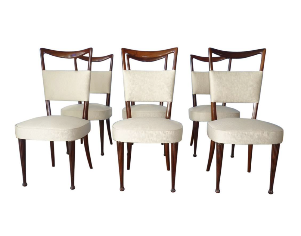 Osvaldo borsani 6 italian dining room chairs italy 1950 for Italian dining chairs modern