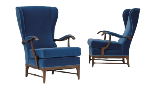 Pair of High Back Lounge Chairs by Paolo Buffa   Italian 20th ...