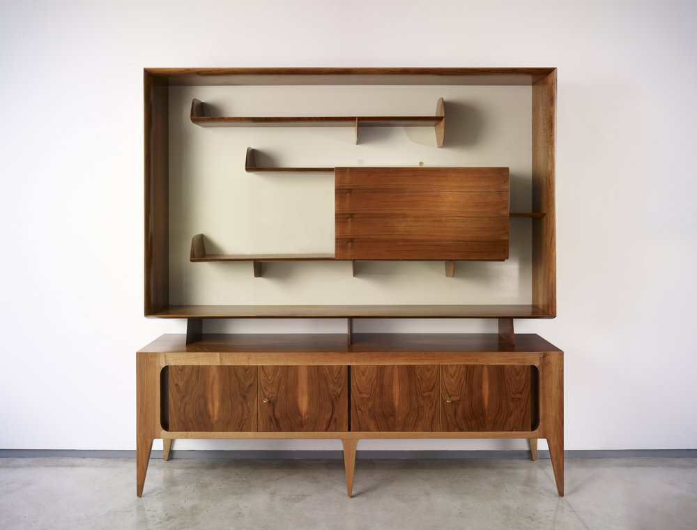 Giò Ponti (Italian, 1891–1979) Display cabinet, model 2140, 1951 Made by Singer & Sons Italian walnut, lacquered wood and brass 79 x 81 x 18 inches Museum of Fine Arts, Houston. Museum purchase funded by the John R. Eckel Jr. Foundation, 2016.145.A-B