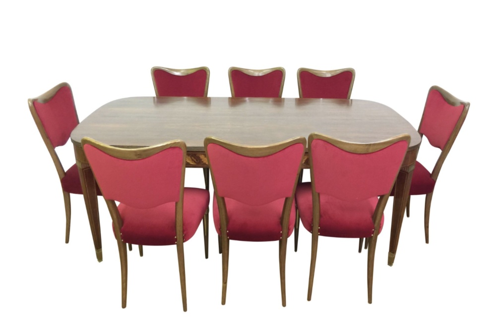 Paolo Buffa & Osvaldo Borsani - Rare Italian Mid Century Dining Table and eight dining chairs with prestigious woods and brass details, newly re-upholstered .