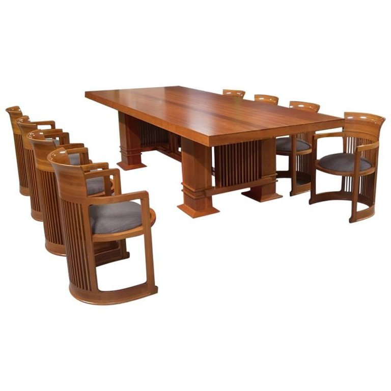 Frank Lloyd Wright - Dining Table model 'Allen' and Eight Dining Chairs from the