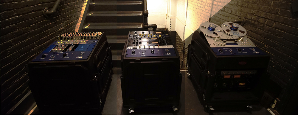 Our mobile recording studio consists of analog tape, api preamps, Lynx converters and much more