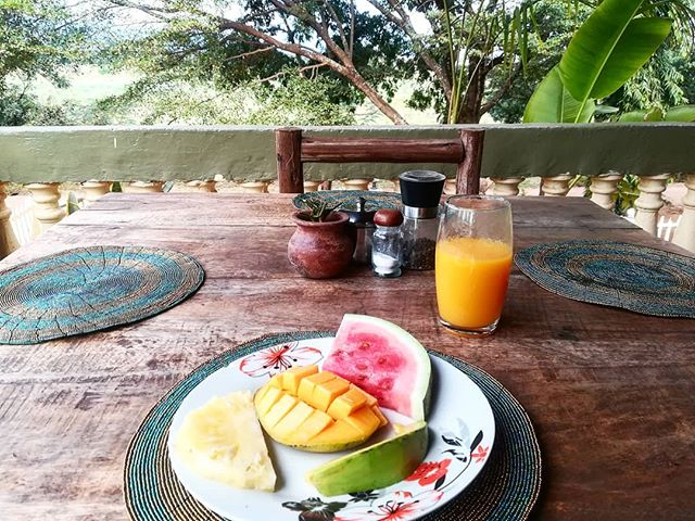 The best kind of breakfast 🍉 . #thesecretgarden #moshi #tanzania #fruitfest #nature #getoutside #yumscruminmytum