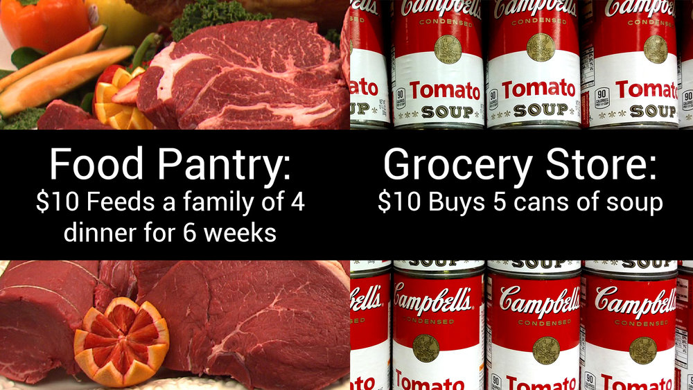 Food Pantry Campaign   $10 feeds a family of 4 dinner for 6 weeks  Next 3 Weeks