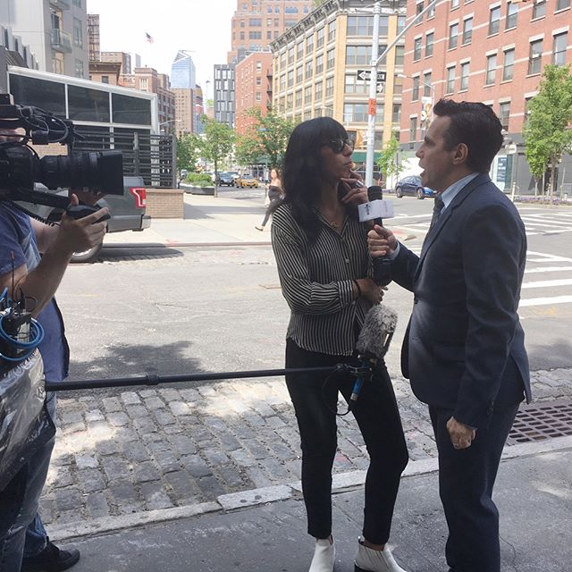 Interviewing New Yorkers on this most gorgeous day for a special segment with the most hilarious & talented @macantone !!! Stay tuned for more!