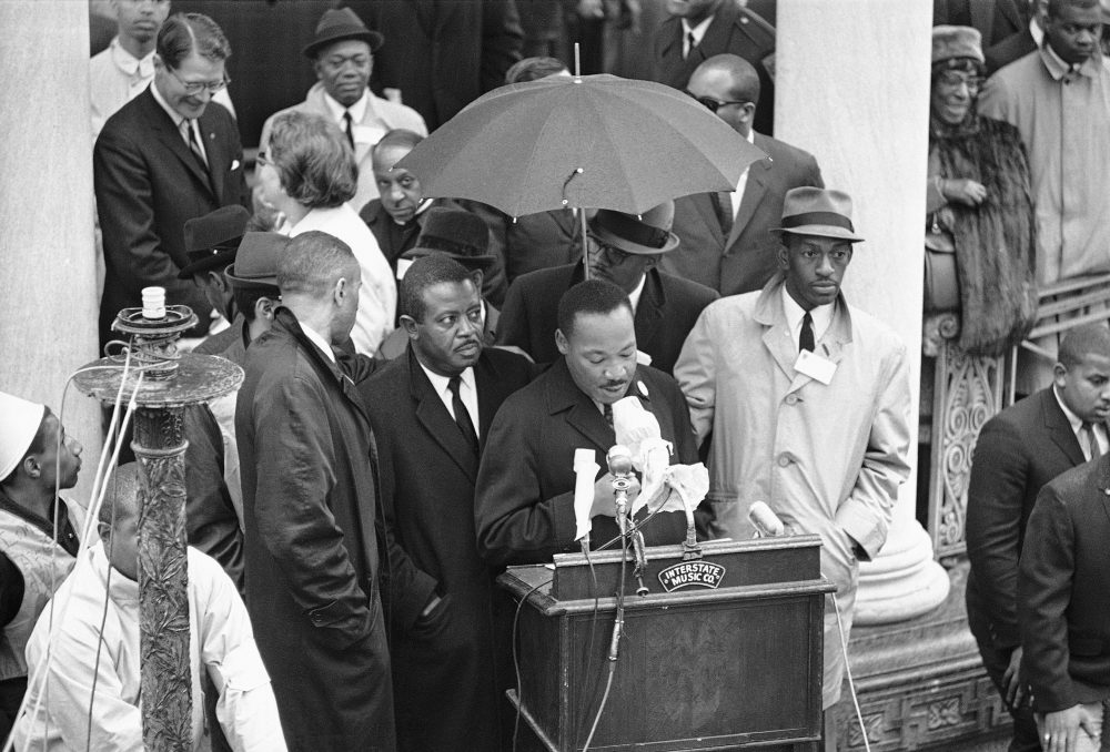 Dr. Martin Luther King Jr. speaks to crowd on Boston Common on April 23, 1965. (AP)