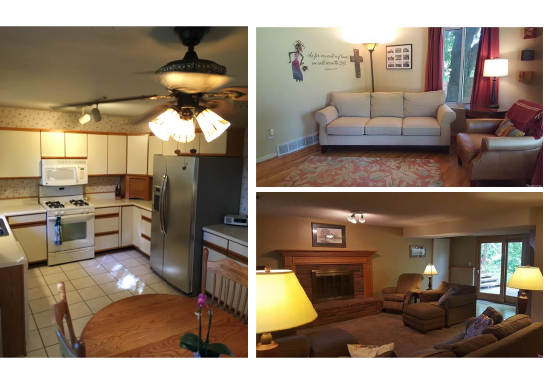 The kitchen, the living room (top right) and the family room (bottom right) will see the most change.