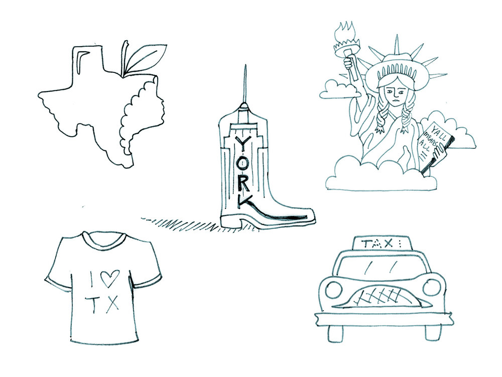 This is what the sketches look like before I begin building them in illustrator.