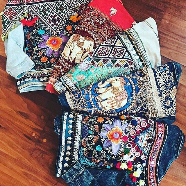 Obsessing over these gorgeous patchwork embellished jackets by @wildandfree.corina 🌻🦋✨