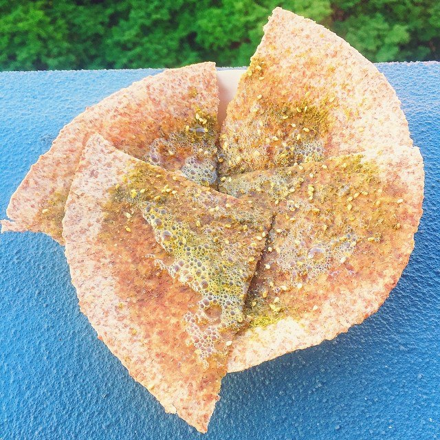 Toasted s  prouted grain tortilla with olive oil and za'atar