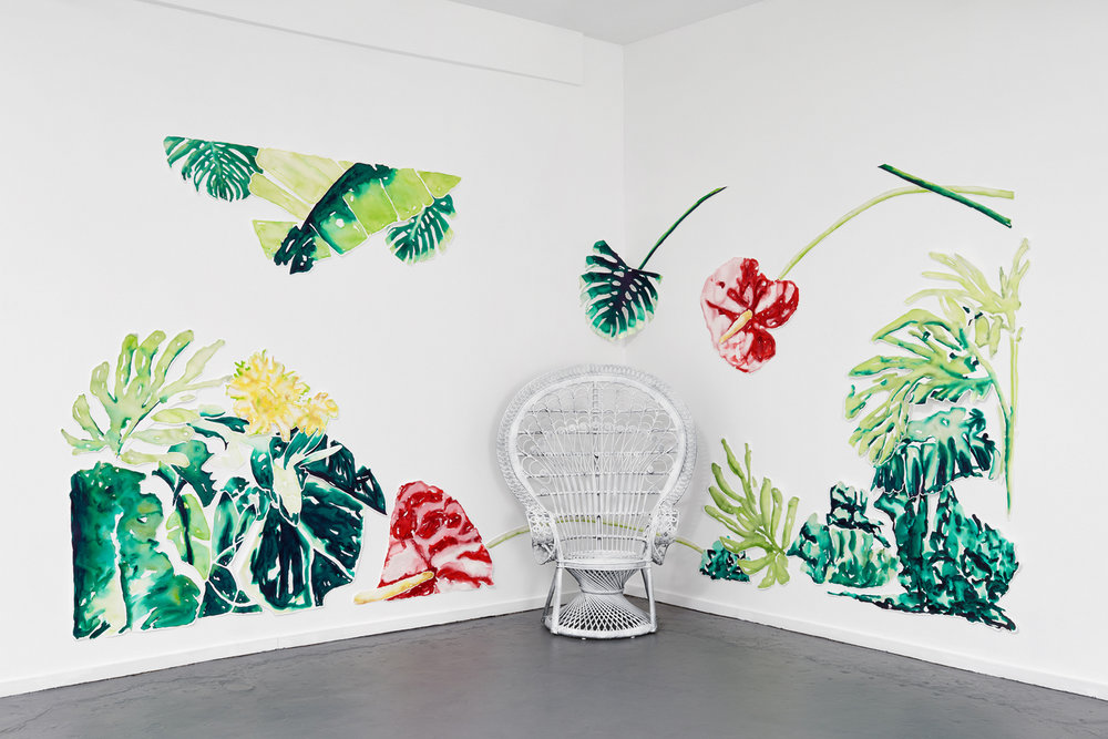 """""""This place is too much..."""" Installation view, Collaged Watercolor on Paper and Whitewashed Rattan Peacock Chair, 2017"""