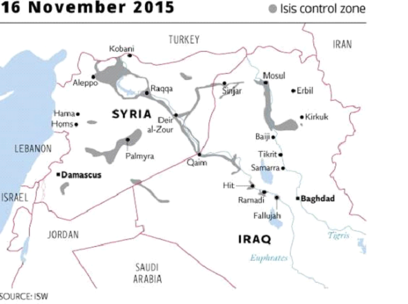 Fig. 3 – ISIS controlled areas (in grey) mapped for November 16th 2015