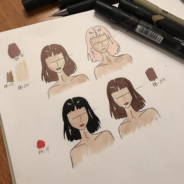 1) Pick a hairstyle: ✔️ (opted for the choppy lob) 2) Pick a hair color: 🤔 • • • • • #inspiration #fashionillustration #fashiondesign #womenwhomake #artanddesign #design #sewing #makersofinstagram #illustration #femaledesigners #sarahkoval #new #haircolor #croquis #prismacolor #micron