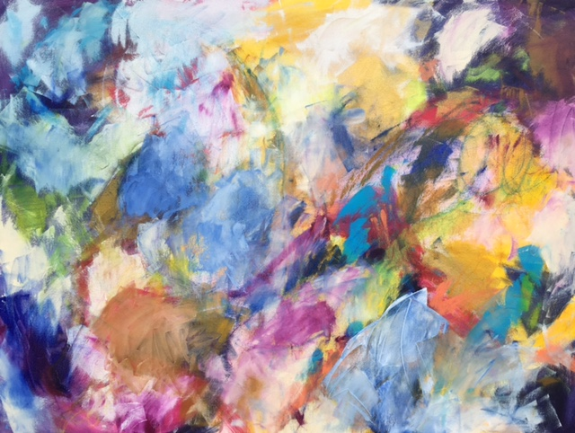 "Sold - BIRDSONG, Chloé Meyer original art, 36"" x 48"", abstract oil painting on canvas"