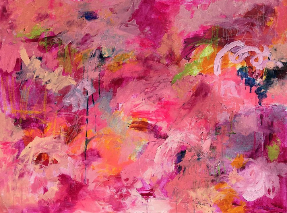 "FOOLISH PLEASURE, Chloe Meyer original art, 30"" X 40"", abstract oil painting on canvas, loaded up with bright hot almost neon pink, touches of orange and maroon. This painting is on the 2018 Beaujolais Nouveau and Rosé wines by Georges Duboeuf"