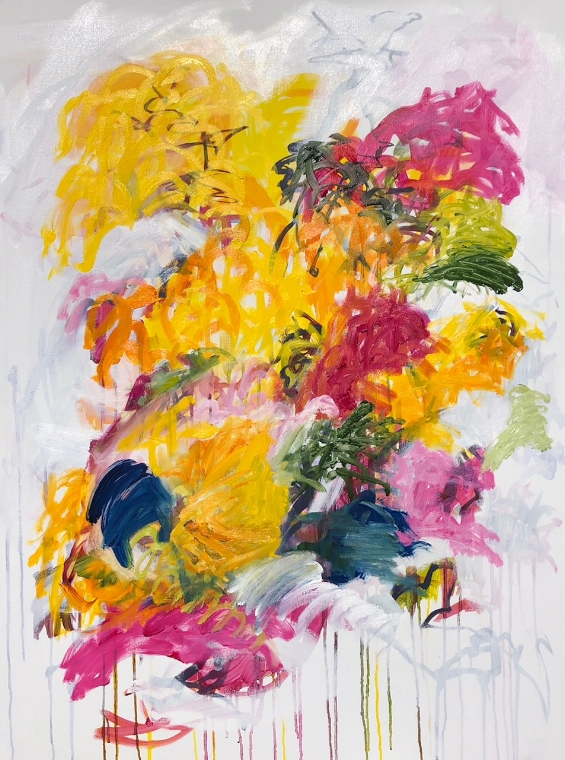 "GARDEN FOLLY 1, Chloé Meyer original artwork, 30"" x 40"", abstract oil painting on linen"
