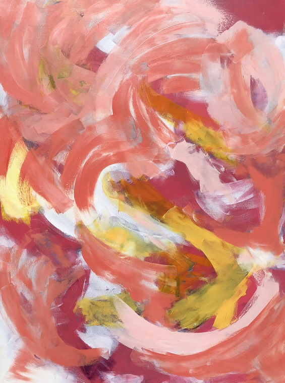 """CAREFREE, Chloé Meyer original art, 36"""" x 48"""", abstract oil painting on canvas"""