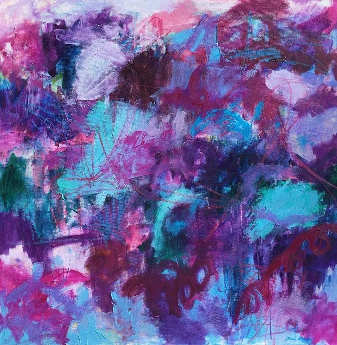 """NEW RIVER, Chloé Meyer original art, 30"""" X 30"""", abstract oil painting on canvas"""
