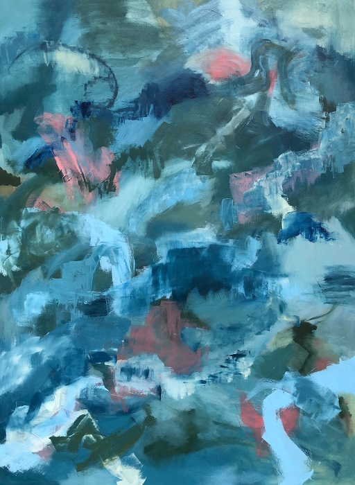 """MOUNTAINS, Chloé Meyer original art, 36"""" x 48"""", abstract oil painting on canvas"""