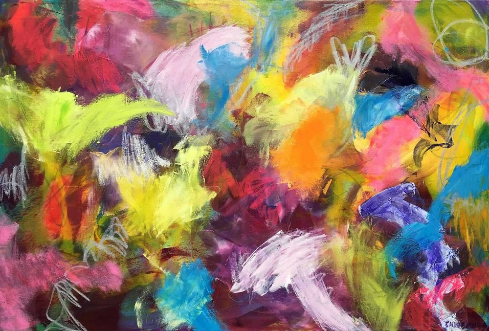 """WHATEVER DELIGHTS, Chloé Meyer original art, 24"""" x 36"""", abstract oil painting on canvas"""