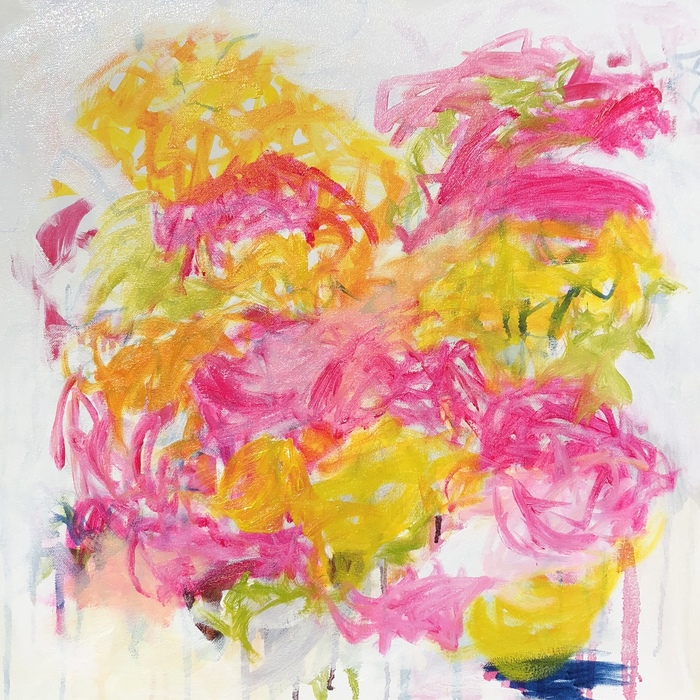 "GARDEN FOLLY 3, Chloé Meyer original art, 18"" x 18"", abstract oil painting on canvas"