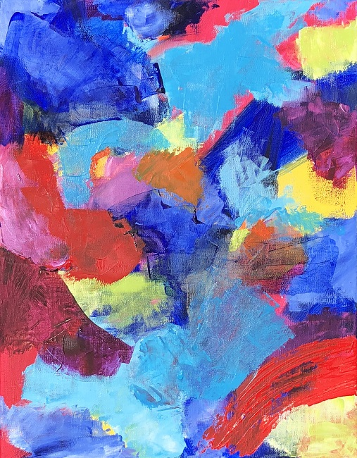 """RADIANCE 1, Chloé Meyer original art, 11"""" x 14"""", abstract oil painting on canvas"""