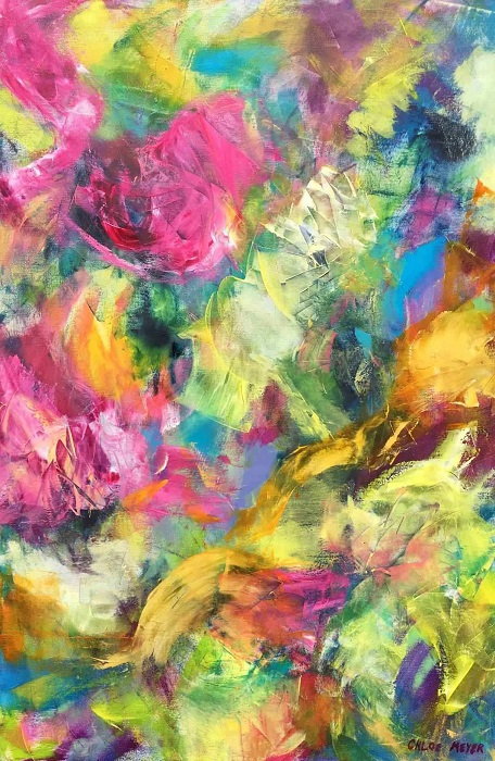 """YOU SHOULD MEET THIS SAINT, Chloé Meyer original art, 24"""" x 36"""", abstract oil painting on canvas"""