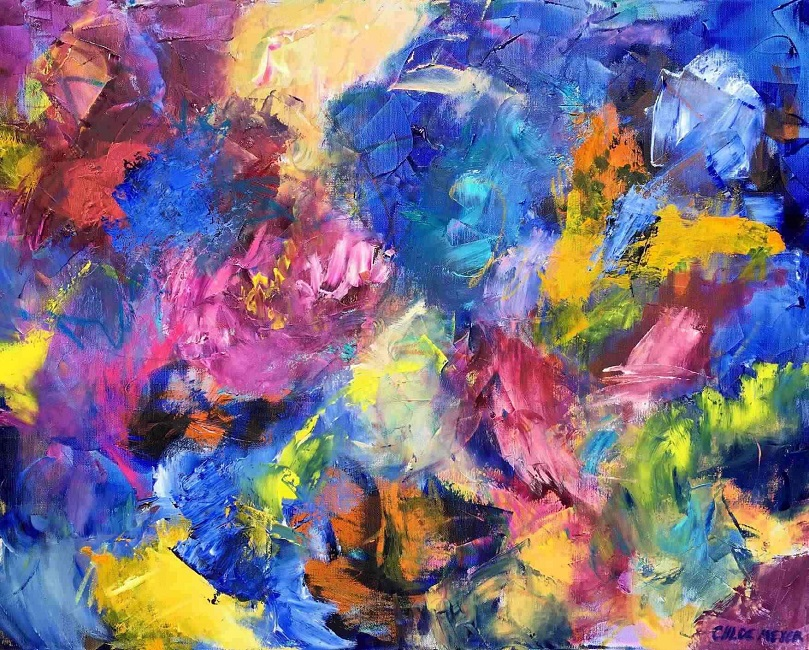 """LITTLE MIRACLES, Chloé Meyer original art, 28"""" x 22"""", abstract oil painting on canvas"""