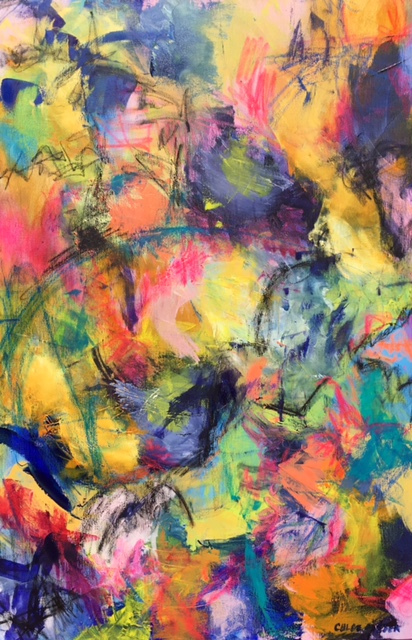 """CEREMONY, Chloé Meyer original artwork, 24"""" x 36"""", abstract oil painting on canvas"""