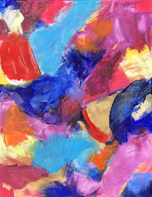 """RADIANCE 2, Chloé Meyer original art, 11"""" x 14"""", abstract oil painting on canvas"""