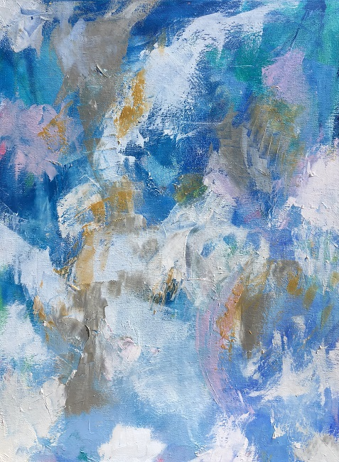 "COCONUT ICE, Chloé Meyer original art, 18"" x 24"", abstract oil painting on canvas"
