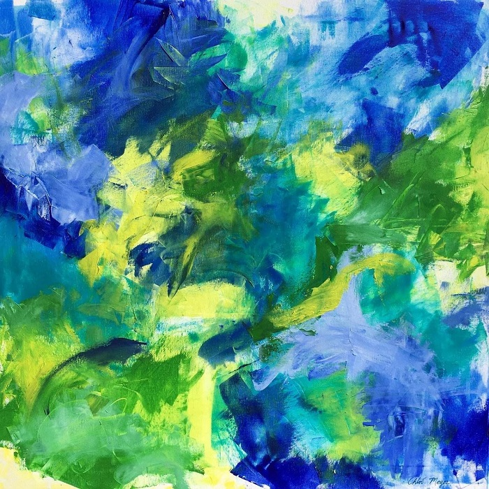 "GRASSHOPPER, Chloé Meyer original art, 24"" X 24"", abstract oil painting on canvas"